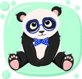 Affisch med den gulliga pandapojken - vektor, illustration, eps stock illustrationer