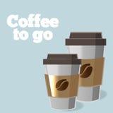 Affisch med den pappers- koppen kaffe i kaffe för tecknad filmstilbokstäver Arkivfoto