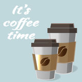 Affisch med den pappers- koppen kaffe i tecknad filmstilbokstäver Royaltyfria Foton