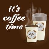 Affisch med den pappers- koppen kaffe som märker dess kaffe för att tajma på bro Royaltyfri Fotografi