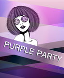 Affisch med den purpurfärgade flickan Fotografering för Bildbyråer