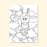 Affisch med den roliga giraffet Kan användas för design för sida för färgläggningbok Arkivfoton