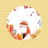 Affisch med den skogväxter och räven Royaltyfri Bild