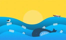 Affisch med ekologiskt tema: Plast- förorening i havet Valet med plast-flaskor i mage, Seabirdsammanträdet på Fl vektor illustrationer