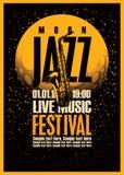Affisch med en saxofon för jazzfestivaler royaltyfri illustrationer