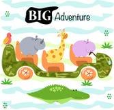 Affisch med gulliga djur vid den bil- vektorillustrationen, eps stock illustrationer