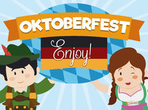 Affisch med gulliga par för tecknad film som firar Oktoberfest, vektorillustration vektor illustrationer