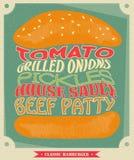 Affisch med hamburgaren Infographic design för hamburgare Arkivbild