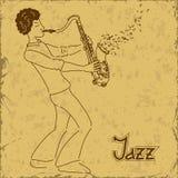 Affisch med musikern som spelar saxofonen Arkivfoto
