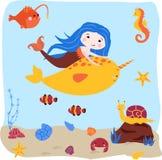 Affisch med sjöjungfrun och svärdfisk - vektorillustration, eps royaltyfri illustrationer