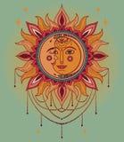 Affisch med solen och måneframsidor och juvlar vektor illustrationer