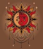 Affisch med solen och måneframsidor och juvlar stock illustrationer