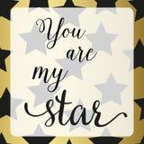 Affisch med stjärnan Du är mitt stjärnatecken vektor illustrationer