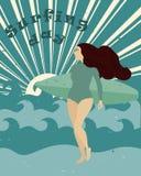 Affisch med surfareflickan med surfingbrädan på stranden Internationell surfa dag stock illustrationer