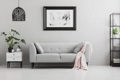 Affisch ovanför grå färgsoffan med rosa färgfilten i vardagsruminre royaltyfri fotografi