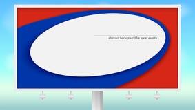 Affisch på affischtavlan med att spela bollen Baner av koppen 2018 för fotboll- eller fotbollvärldsmästerskap på himmelbakgrunden royaltyfri illustrationer
