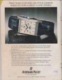 Affisch som annonserar klockan för AP Audemars Piguet i tidskriften från 1992, den ledar- urmakareslogan royaltyfri bild