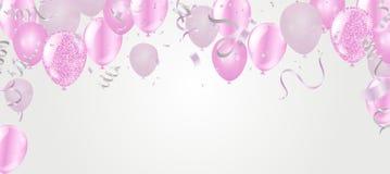 Affischballonger för glad jul och bakgrund för lyckligt nytt år kort för mallvinterferie vektor illustrationer