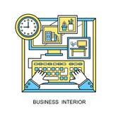 Affischbegrepp med symboler av affärsinre via beståndsdelar för för ledning- och organisationsidésymbol och arbetsplats i plan de vektor illustrationer