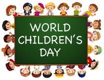 Affischdesign för dag för världsbarn` s stock illustrationer