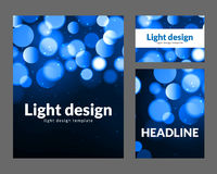 Affischdesignmall med ljus effekt för bokeh Modernt kortbegrepp för vektor Semestra reklambladmallen för konsert eller visa parti stock illustrationer