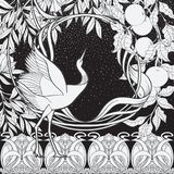 Affischen, bakgrund med dekorativa blommor och fågeln i jugendstil utformar Svartvita diagram n stock illustrationer