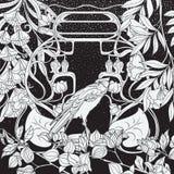 Affischen, bakgrund med dekorativa blommor och fågeln i jugendstil utformar Svartvita diagram n royaltyfri illustrationer