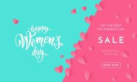 Affischen eller banret för försäljning för dag för kvinna` s för ferie för dag för moder` s shoppar säsongsbetonat rabatterbjudan royaltyfri illustrationer