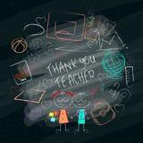 Affischen för dagen för lärare s tackar den handdrawn med orden dig läraren vektor illustrationer