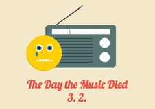 Affischen för dagen musiken dog - 3rd Februardy varje år Arkivbilder