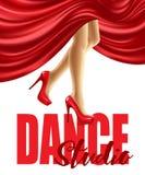 Affischen för dansstudion med kvinnlign lägger benen på ryggen, i röda skor och att bölja för kjol också vektor för coreldrawillu stock illustrationer