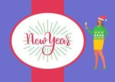 Affischen för det lyckliga nya året, kvinna firar Xmas-partiet stock illustrationer