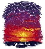 Affischen för drömmar med havsolnedgång och stjärnklar himmel skissar in stil Royaltyfri Foto