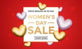 Affischen för kvinnadagförsäljningen på guld blänker hjärtamodellbakgrund royaltyfri illustrationer