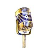Affischen i tappningstil på ett retro parti gammal mikrofon royaltyfri illustrationer