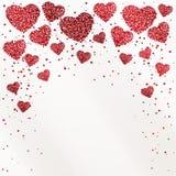 Affischen med hjärtor från röda konfettier, mousserar, blänker och förlägger för text på vit bakgrund Arkivbild