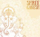 Affischen med Lord Ganesha, kan användas som kortet för beröm Ganesh Chaturthi Royaltyfri Bild