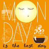 Affischen med sötsaker, kaffe, månen och inskriften måndag är den bästa dagen Royaltyfri Foto