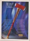 Affischen som annonserar Kepner Tregoe i tidskrift från 1992, hur länge, ska denna lösning hålla dig i affär? slogan royaltyfri bild