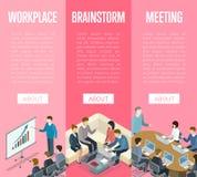 Affischer 3D för liv för företags kontor isometriska stock illustrationer