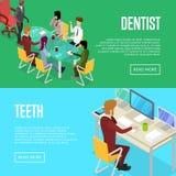 Affischer 3D för liv för företags kontor isometriska royaltyfri illustrationer
