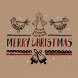Affischer för julgåvakort Papper för hantverk för typografigarneringferie Mall för att hälsa Scrapbooking, lyckönskan, Invi stock illustrationer