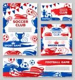 Affischer för klubba för fotboll för vektorfotbolllag Fotografering för Bildbyråer
