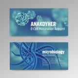 Affischer om mikrobiologi och virus mikroskopisk 3d royaltyfri illustrationer