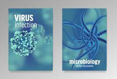 Affischer om mikrobiologi och virus mikroskopiska bakterier 3d royaltyfri illustrationer