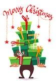 Affischkort för glad jul med callygraphybokstäver- och tecknad filmstil bunt för många gåvor, bandpilbåge på askgåvor rolig del stock illustrationer
