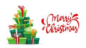 Affischkort för glad jul med callygraphybokstäver- och tecknad filmstil bunt för många gåvor, bandpilbåge på askgåvor rolig del vektor illustrationer