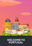 Affischlopp till Portugal horisont Plan illustration för vektor Fotografering för Bildbyråer