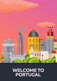 Affischlopp till Portugal horisont Plan illustration för vektor Arkivfoto