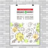 Affischmall för organisk mat också vektor för coreldrawillustration Royaltyfri Bild